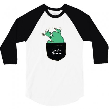 Little Monster 3/4 Sleeve Shirt Designed By Disgus_thing