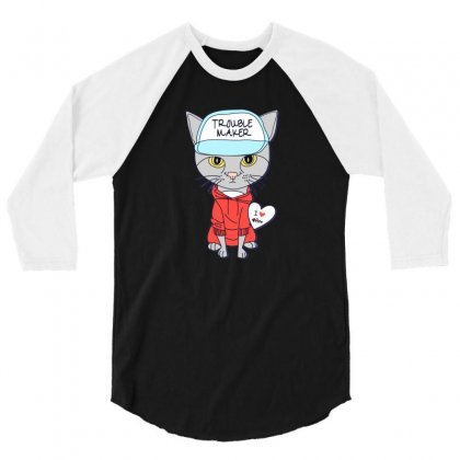 I Love Cat 3/4 Sleeve Shirt Designed By Disgus_thing