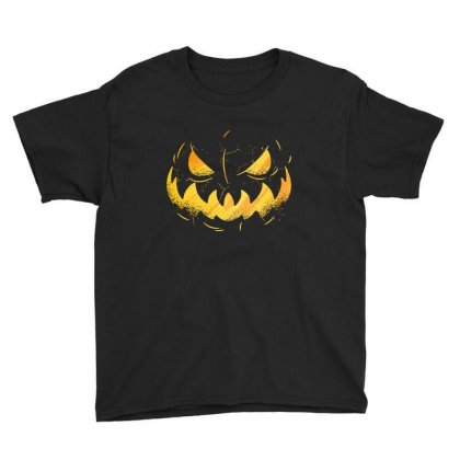 Pumpking Face Youth Tee Designed By Disgus_thing