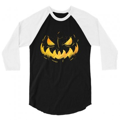 Pumpking Face 3/4 Sleeve Shirt Designed By Disgus_thing