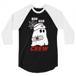 boo boo crew halloween ghost nurse 3/4 Sleeve Shirt | Artistshot