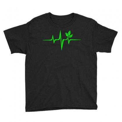Heartbeat, Pulse Green, Vegan, Frequency, Wave, Earth, Planet Youth Tee Designed By Omer Acar