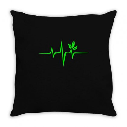 Heartbeat, Pulse Green, Vegan, Frequency, Wave, Earth, Planet Throw Pillow Designed By Omer Acar