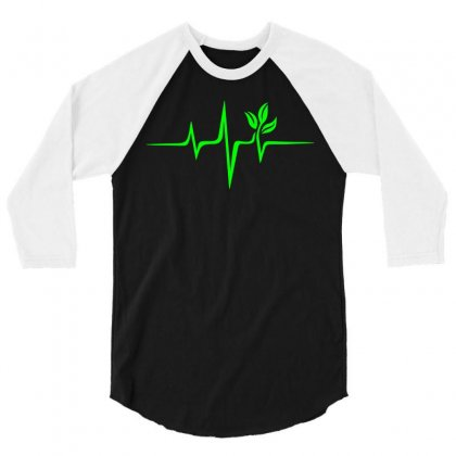 Heartbeat, Pulse Green, Vegan, Frequency, Wave, Earth, Planet 3/4 Sleeve Shirt Designed By Omer Acar