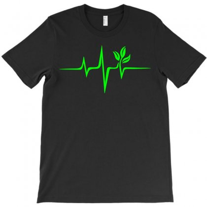 Heartbeat, Pulse Green, Vegan, Frequency, Wave, Earth, Planet T-shirt Designed By Omer Acar
