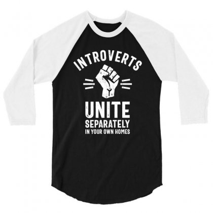 Thread Science Introverts Unite Sarcastic Nerd Loner Funny Humor 3/4 Sleeve Shirt Designed By Cidolopez
