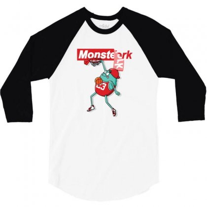Monster Funny 3/4 Sleeve Shirt Designed By Disgus_thing
