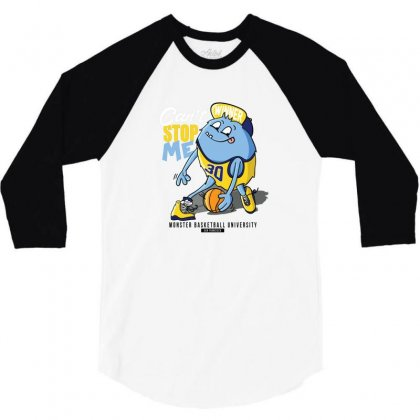 Monster Basketball University 3/4 Sleeve Shirt Designed By Disgus_thing