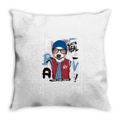 Dog Newyork Trend Throw Pillow Designed By Disgus_thing