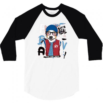 Dog Newyork Trend 3/4 Sleeve Shirt Designed By Disgus_thing
