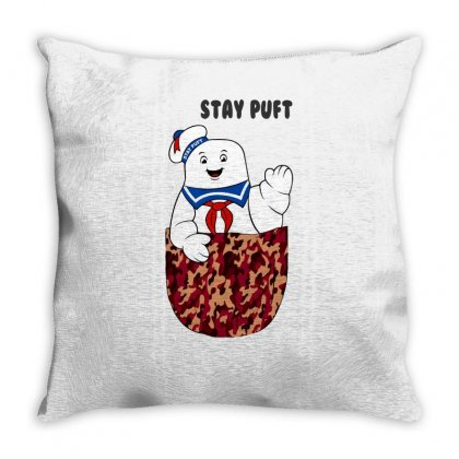 Pocket Stay Puft Throw Pillow Designed By Shadowart