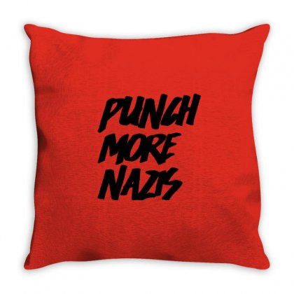 Punch More Nazis Black Throw Pillow Designed By Shadowart
