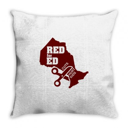 Red For Ed Ontario Cuts Hurt Kids Throw Pillow Designed By Shadowart