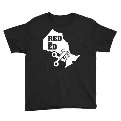 Red For Ed Ontario Cuts Hurt Kids Youth Tee Designed By Shadowart
