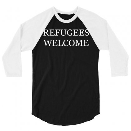 Refugees Welcome 3/4 Sleeve Shirt Designed By Shadowart