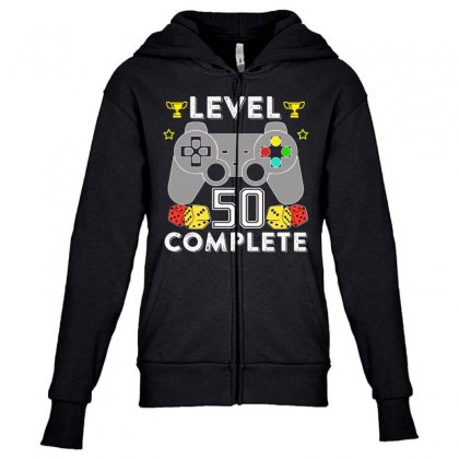 Level 50 Complete Youth Zipper Hoodie Designed By Hung