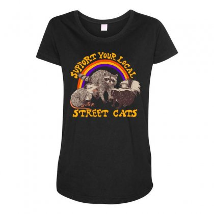 Street Cats Maternity Scoop Neck T-shirt Designed By Shadowart