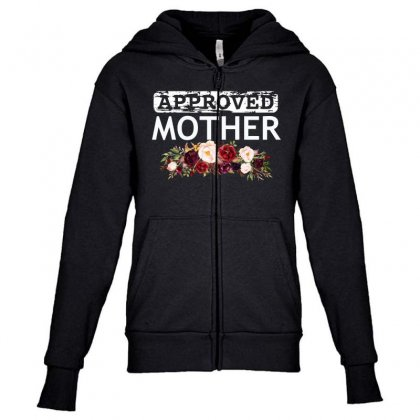 Approved Mother Youth Zipper Hoodie Designed By Cogentprint