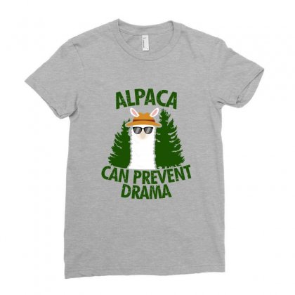 Alpaca Can Prevent Drama Ladies Fitted T-shirt Designed By Ofutlu