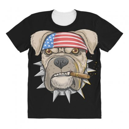 Usa Dog All Over Women's T-shirt Designed By Disgus_thing