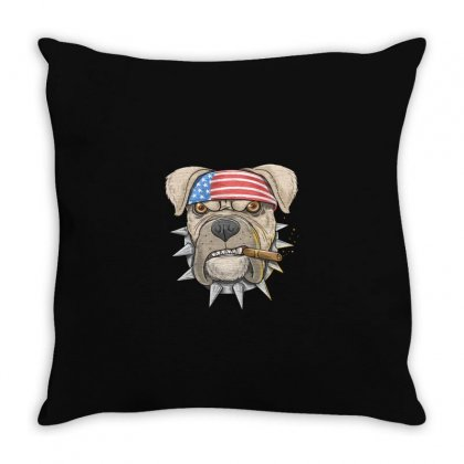 Usa Dog Throw Pillow Designed By Disgus_thing