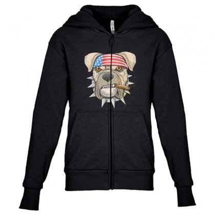 Usa Dog Youth Zipper Hoodie Designed By Disgus_thing