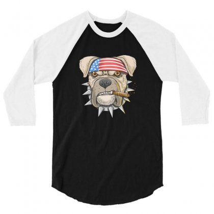 Usa Dog 3/4 Sleeve Shirt Designed By Disgus_thing