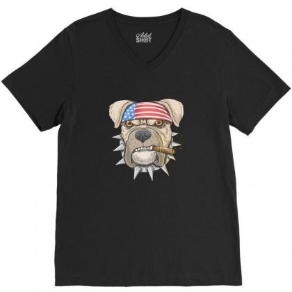 Usa Dog V-neck Tee Designed By Disgus_thing