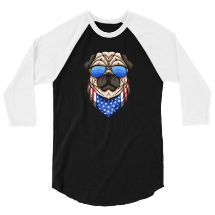 Usa Dog Patriot 3/4 Sleeve Shirt Designed By Disgus_thing