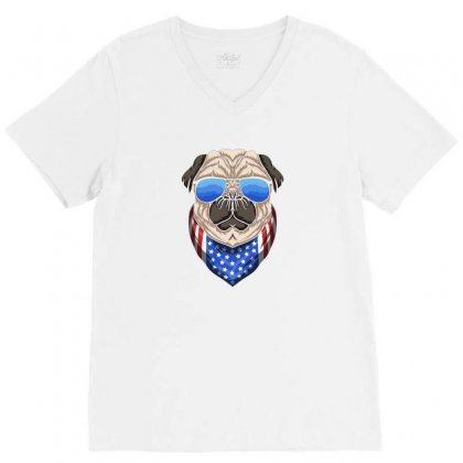Usa Dog Patriot V-neck Tee Designed By Disgus_thing