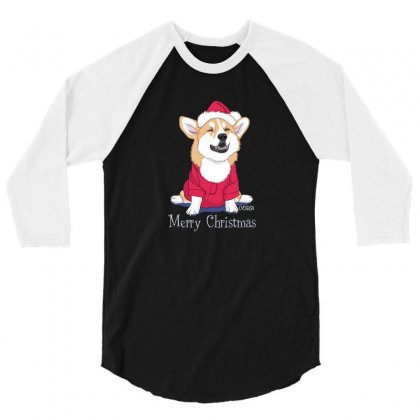 Dog Merry Christmas 3/4 Sleeve Shirt Designed By Disgus_thing