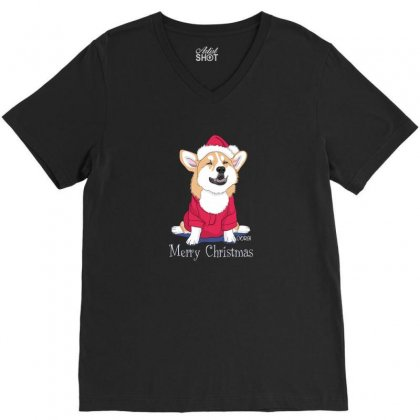 Dog Merry Christmas V-neck Tee Designed By Disgus_thing