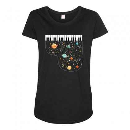 Music In Space For Dark Maternity Scoop Neck T-shirt Designed By Hasret