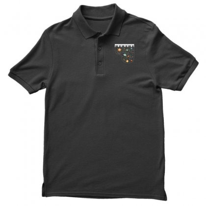 Music In Space For Dark Men's Polo Shirt Designed By Hasret