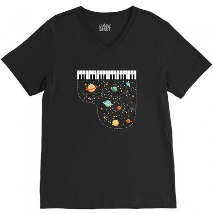 Music In Space For Dark V-neck Tee Designed By Hasret