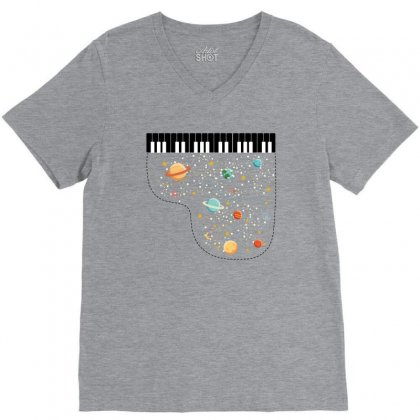 Music In Space For Light V-neck Tee Designed By Hasret