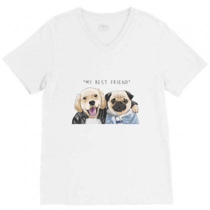 Dog Best Friend V-neck Tee Designed By Disgus_thing