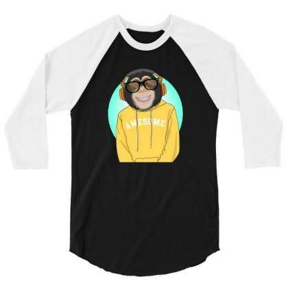 Monkey Awesome 3/4 Sleeve Shirt Designed By Disgus_thing