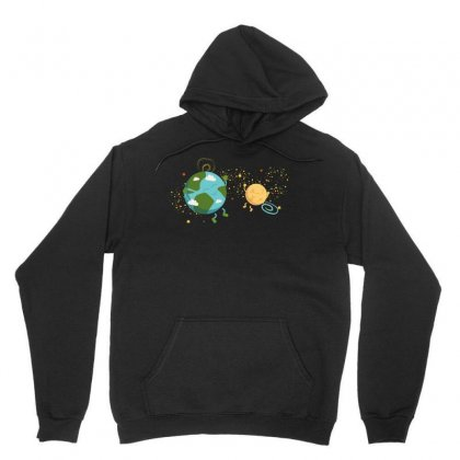 Happy Planets In The Space Unisex Hoodie Designed By Hasret