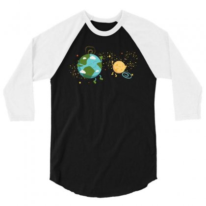 Happy Planets In The Space 3/4 Sleeve Shirt Designed By Hasret
