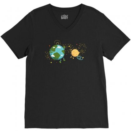 Happy Planets In The Space V-neck Tee Designed By Hasret