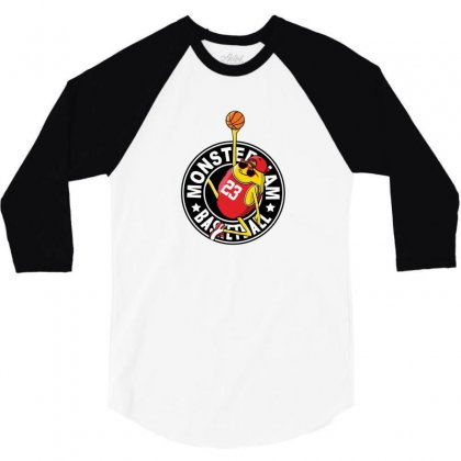 Basketball Monster 3/4 Sleeve Shirt Designed By Disgus_thing