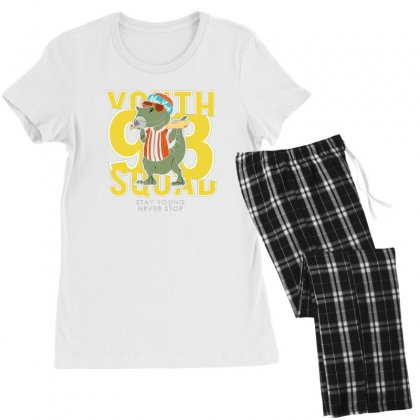 T Rex Stay Young Women's Pajamas Set Designed By Disgus_thing