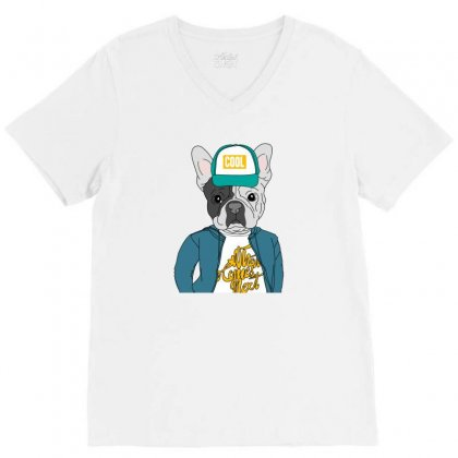 Cool Dog V-neck Tee Designed By Disgus_thing
