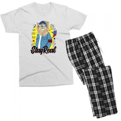 Lion Stay Real Men's T-shirt Pajama Set Designed By Disgus_thing
