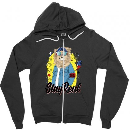 Lion Stay Real Zipper Hoodie Designed By Disgus_thing