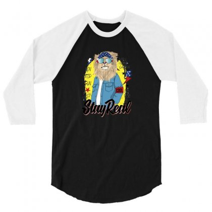 Lion Stay Real 3/4 Sleeve Shirt Designed By Disgus_thing