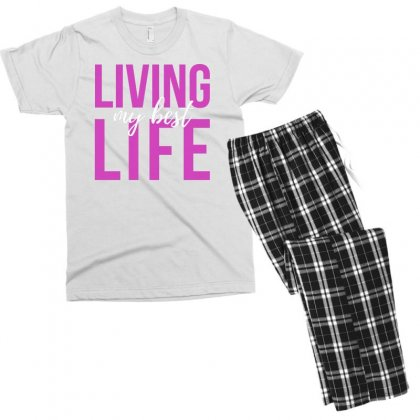 Living My Best Life Men's T-shirt Pajama Set Designed By Cogentprint