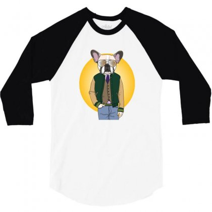 Funny Dog 3/4 Sleeve Shirt Designed By Disgus_thing