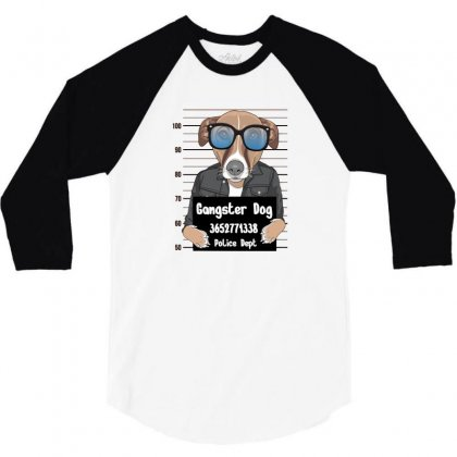 Gangster Dog 3/4 Sleeve Shirt Designed By Disgus_thing